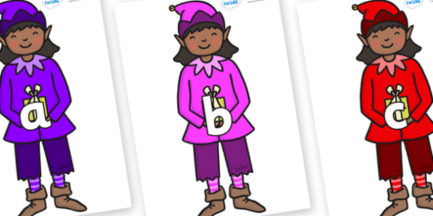 Phase 2 Phonemes on Girl Elves (Multicolour) - Phonemes, phoneme, Phase 2, Phase two, Foundation, Literacy, Letters and Sounds, DfES, display