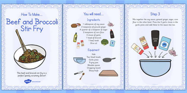 Beef and Broccoli Stir Fry Recipe Cards - beef, broccoli, recipe