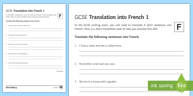 GCSE French: Translation into French - Foundation Tier ...