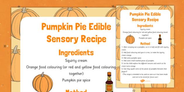 Pumpkin Pie Edible Sensory Recipe - pumpkin pie, edible, sensory, recipe, cook, food