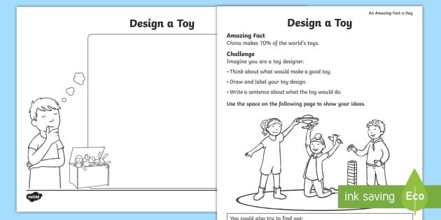 Design A Toy Worksheet Activity Sheet Amazing Fact Of The Day
