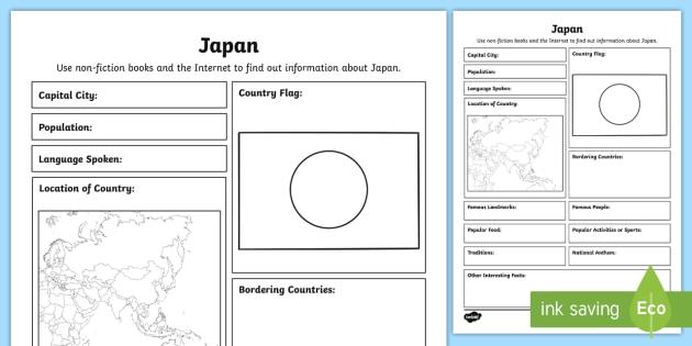 FREE! - Japan Fact File Worksheet