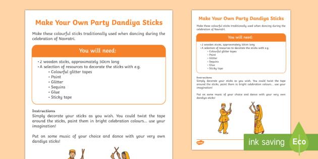 Navratri Dandiya Dancing Sticks Craft Instructions