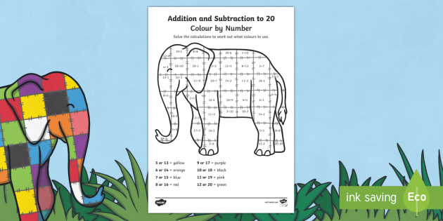 Addition And Subtraction From 20 Colour By Numbers Sheet to Support Teaching on Elmer