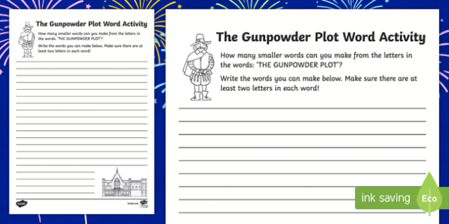 Gunpowder Plot Make a Word Activity