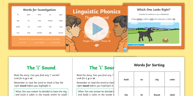 Northern Ireland Linguistic Phonics Stage 5 and 6 Phase 3b, 'i' Sound PowerPoint  - NI, sound search, word sort, investigation, ui, i, y, short i