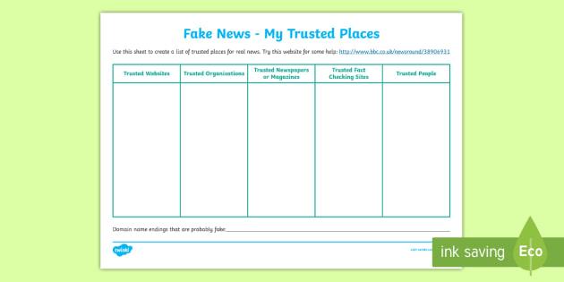 Ks2 Fake News My Trusted Places Worksheet Worksheet Journalism