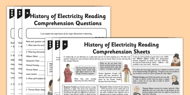 History of Electricity Differentiated Reading Comprehension Activity - electricity, voltage, current, scientists, history
