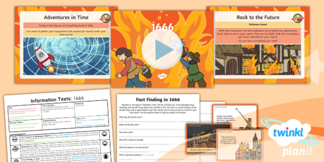 Time Travel: The Great Fire of London: Recounts 2 Y1 Lesson Pack - Samuel Pepys, Samuel Peeps, 1666, Pudding Lane, Charles II, diary writing, diary