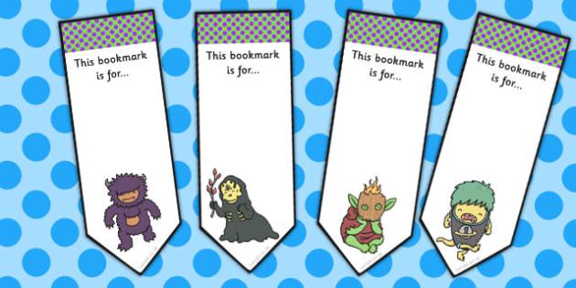 Monster Themed Editable Bookmarks - monster, bookmarks, fantasy