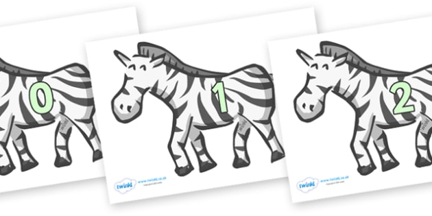 Numbers 0-100 on Zebras - 0-100, foundation stage numeracy, Number recognition, Number flashcards, counting, number frieze, Display numbers, number posters
