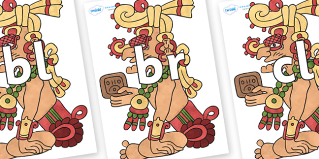 Initial Letter Blends on Kinich Ajaw - Initial Letters, initial letter, letter blend, letter blends, consonant, consonants, digraph, trigraph, literacy, alphabet, letters, foundation stage literacy