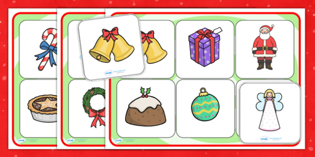 Christmas Pictures SEN Matching Mat - christmas, christmas pictures, SEN, matching mat, SEN mat, themed matching mat, themed SEN mat, picture mat
