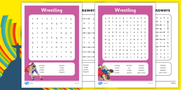 The Olympics Wrestling Word Search - the olympics, rio olympics, 2016 olympics, rio 2016, wrestling, word search