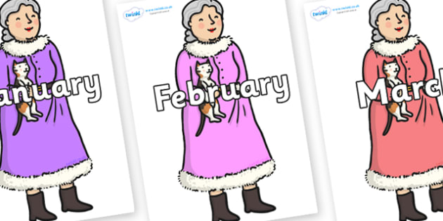 Months of the Year on Mrs Claus to Support Teaching on The Jolly Christmas Postman - Months of the Year, Months poster, Months display, display, poster, frieze, Months, month, January, February, March, April, May, June, July, August, September