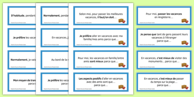 Travel and Tourism Prompt Cards French - Conversation, Speaking, Holidays, Vacances, Voyage, Tourisme, Cartes