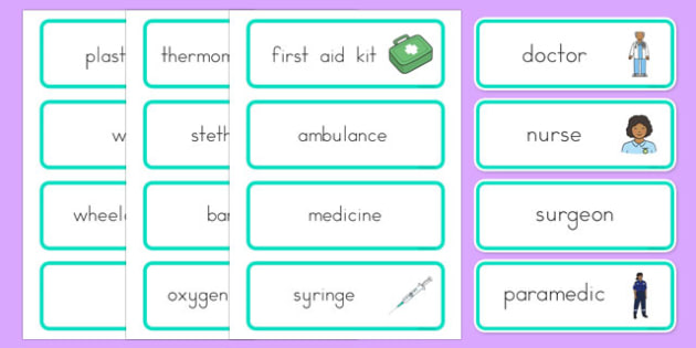 Hospital Word Cards - hospital role play, roleplay, flash cards