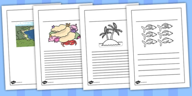 Great Barrier Reef Writing Frames Black and White - australia