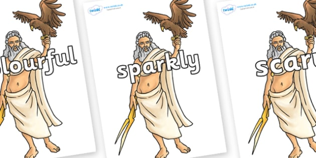 Wow Words on Zeus - Wow words, adjectives, VCOP, describing, Wow, display, poster, wow display, tasty, scary, ugly, beautiful, colourful sharp, bouncy