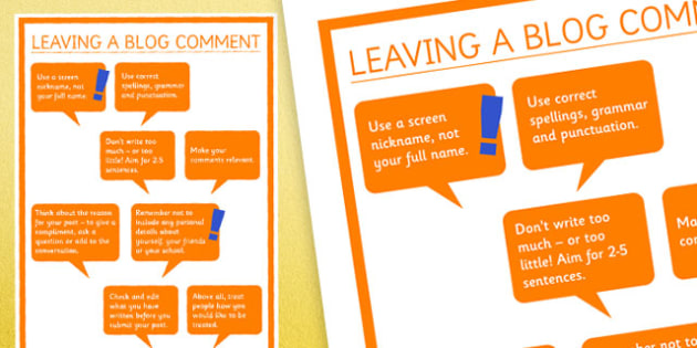 Leaving A Blog Comment Display Posters - blog, computing, comments, behaviour, esafety, safety