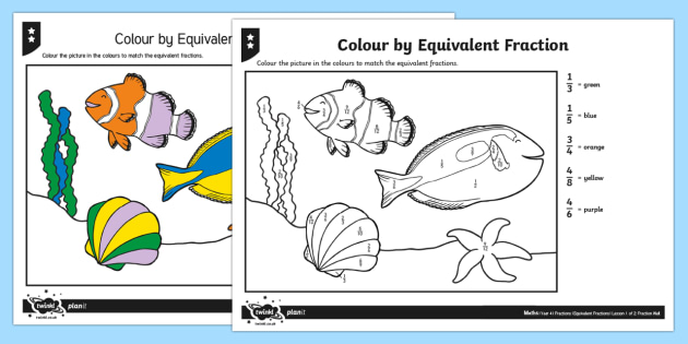 Colour By Equivalent Fraction Differentiated Worksheet Worksheets