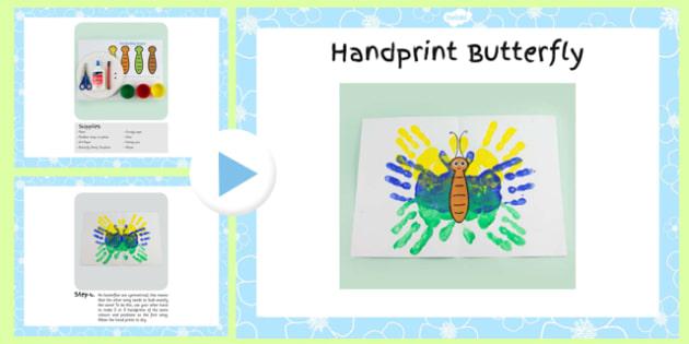 Handprint Butterfly Craft Instructions Powerpoint- craft, powerpoint, hand