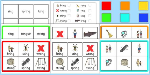 Final 'ng' Sound Bingo - final ng, sound, bingo, activity, game