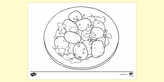 Free Small Potatoes Colouring Page Primary Resource