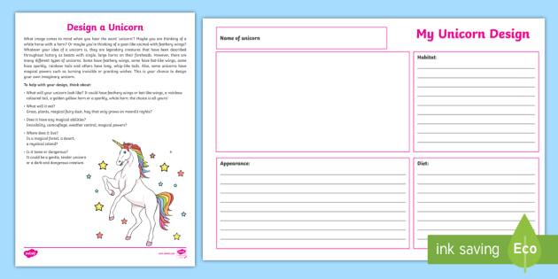 Design a Unicorn Worksheet - fantasy, mythical, legends ...