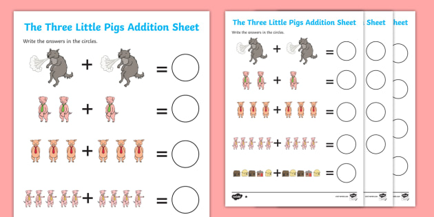 The Three Little Pigs Addition Sheet - the three little pigs, addition, sheet, addition sheet, three little pigs worksheet, three little pigs addition