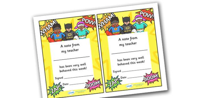 Note From My Teacher Well Behaved This Week (Superhero Themed) - note from teacher well behaved this week, well behaved this week, note from teacher, notes, praise, comment, note, teacher, teacher's, parents, well behaved, this week, superhero themed