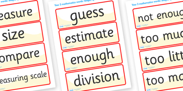 Shape Space Measure Vocabulary Cards (Year 4) - shape, space, measure, vocabulary, vocab, cards, card flashcards, year 4, year four, shapes, space, measures, measuring