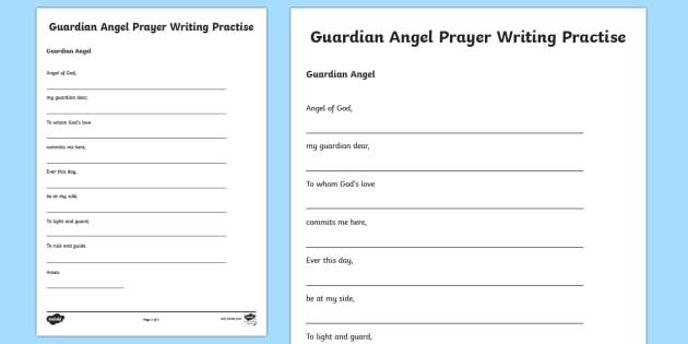 Guardian Angel Writing Practise Activity Sheet-Scottish - CfE Catholic Christianity, prayers, mass responses, Guardian Angel,Scottish, worksheet