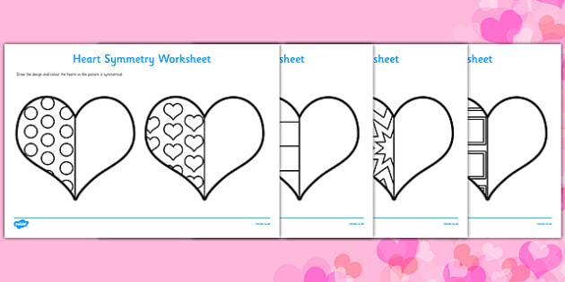 Valentine's Day Heart Symmetry Worksheets - symmetry, sheets, symmetry sheets, valentines day, valentines, heart, love heart, heart symmetry, reflection, creating symmetry, numeracy, math, shapes, symmetry activity
