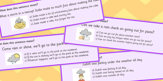 Weather Idioms Multiple Choice Cards - weather, idioms, multiple choice