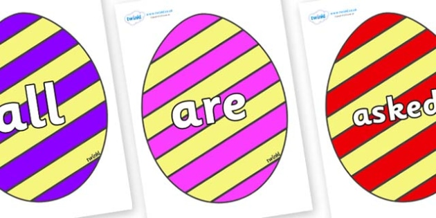 Tricky Words on Easter Eggs (Stripes) - Tricky words, DfES Letters and Sounds, Letters and sounds, display, words