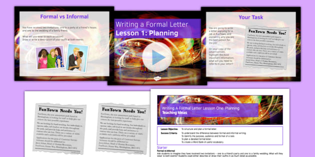 Writing a Formal Letter Lesson 1 Planning - Formal Letter, Writing, GCSE, Informative, Persuasive, Planning, Structure