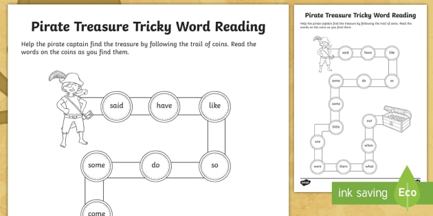 Pirate Treasure Path Phase 4 Tricky Words Reading Worksheet