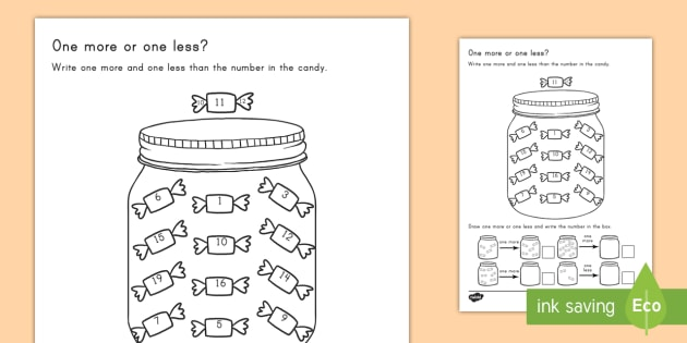 gatito volumen azufre  One More One Less Candy Counting Worksheet / Worksheet