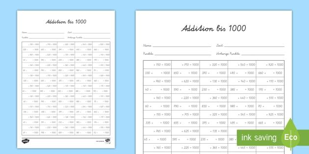 new addition bis 1000 arbeitsblatt addition addieren addition bis. Black Bedroom Furniture Sets. Home Design Ideas