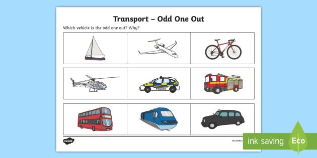 transport odd one out worksheet activity sheet odd one. Black Bedroom Furniture Sets. Home Design Ideas