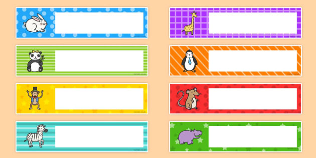 Editable Cute Animal Multicolour Tray Labels - animal, tray label