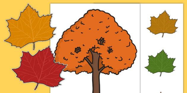Autumn Tree and Leaf Display - autumn, tree, leaf, display, editable