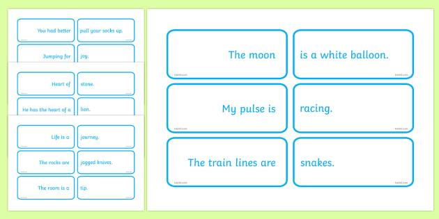 Matching Metaphor Game - paired metaphors, metaphor, match, phrase, saying, game, activity