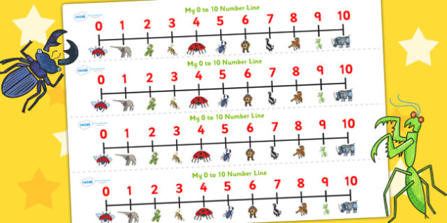 Number Lines 0-10 to Support Teaching on The Bad Tempered Ladybird - counting, count