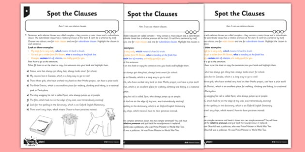 Spot the Clauses Differentiated Worksheet / Worksheet Pack - GPS