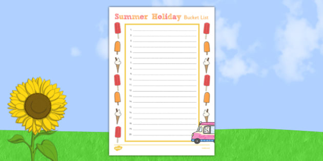 Summer Holiday Bucket List - summer holiday, bucket list, summer, holiday, activities