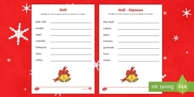 Mots de Noël à déchiffrer Feuille d'activités - Noël, Christmas, unscramble, mots, words, désordre, ordre, ordonner,French