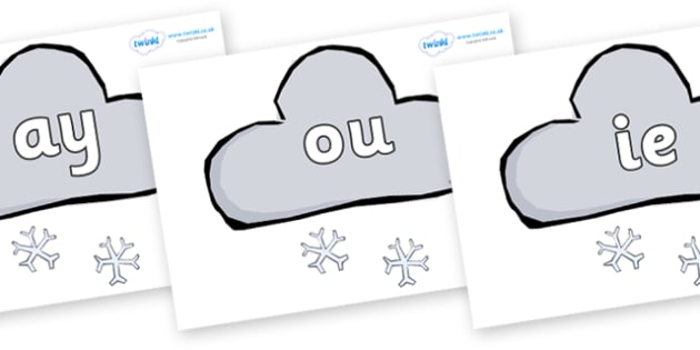 Phase 5 Phonemes on Weather Symbols (Snow) - Phonemes, phoneme, Phase 5, Phase five, Foundation, Literacy, Letters and Sounds, DfES, display