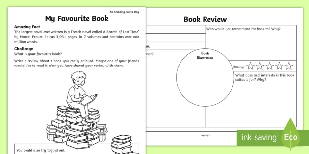Design A Book Cover Worksheet ~ My favourite book worksheet activity sheet amazing fact of